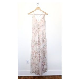 Jenny Yoo Pink Floral High Low Cross Back Dress